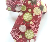 Little Guy Holiday NECKTIE Tie - Burgundy Circle Snowflakes - (4-6 years) - Boy Toddler - (Ready to Ship) Christmas