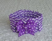 "Custom for Julie - Purple Zig Zag Stripe Dog Collar Scrunchie with dotted bow - Size XS: 10"" to 12"" neck"