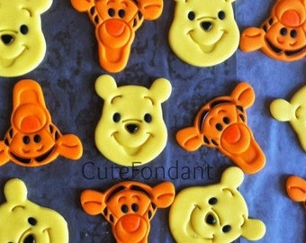 12 Winnie the Pooh and Tigger fondant cupcake toppers