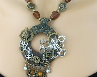 Steampunk Necklace, Assemblage Necklace, Beaded Necklaces, Steampunk Jewelry, Octopus Jewelry, One Of A Kind Steampunk Necklace, SN001