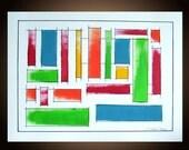 Original, Geometric Painting, Abstract Art, Abstract, Geometric, Mid Century, Modern Art, Mixed Media, 18x24, Linen Paper, Ink, Len Dickson