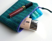 HARRIS TWEED Makeup bag , cosmetic pouch , jade stripe , small wool pouch