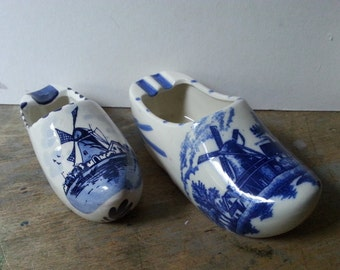 Pair Delft Blue and White Dutch Shoe Ashtrays - Make Great Succulent Planters