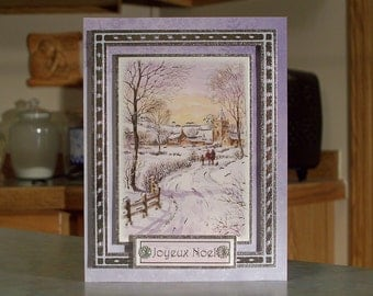 """Handmade Joyeux Noel Christmas Card - 6 1/2"""" x 5"""" - Features Family Walking on Snow Covered Country Road to Church - OOAK"""