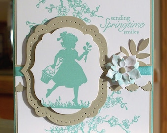 "Handmade Stampin Up Easter Blossom Card - 4.25"" x 5.5"" - Little Girl Silhouette Sending Springtime Wishes"