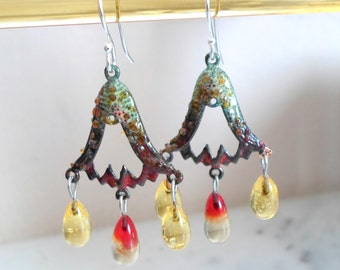 Enamel Earrings,  Handmade Glass Chandelier Earrings, Brass Bells Boho Enamel Earrings, Handmade Unique Enamel Jewelry Gift for Her
