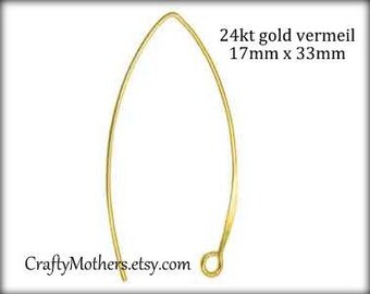 29% SALE! (Code: FROSTY) TWO Pairs Bali 24kt Gold Vermeil Elven-style Ear Wires, 33mm x 17mm, 20 gauge, 4 pcs, Artisan-made