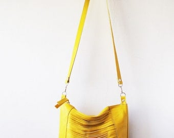 yellow leather bag, Every day purse , Cross-body bag