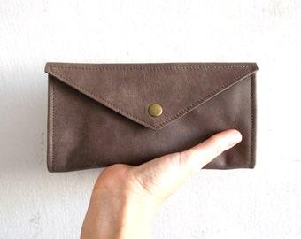Brown envelope  wallet - leather women wallet