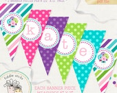 Printable Sweet Shoppe Banner, Candy Colors, Lollipop Banner, Birthday Banner, Candy Party, Editable Letters, Instant Download