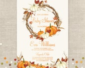 Fall Invitation, 5 x 7,  Autumn, Wedding, Baby Shower, Customized w/ Your Wording, Choose Digital or Printed Invitations
