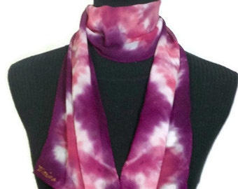 Pink and Plum Hand Dyed Silk Scarf 8x54in * 20.32x137.16cm