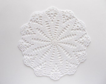 Crochet Doily White Cotton Lace with Large Flower Center and Scalloped Edge Heirloom Quality