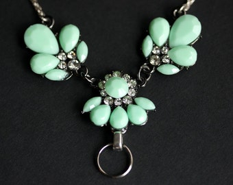 Badge Lanyard Necklace. Mint Green Lanyard. Badge Holder. Handmade Lanyard Jewelry. Rhinestone Lanyard. Silver Lanyard. Badge Necklace.