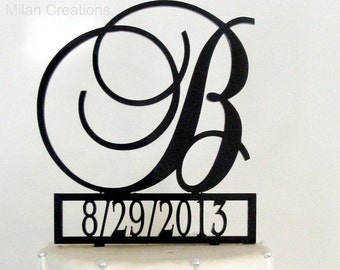 ON SALE Monogram Wedding Cake Topper with Event Date and Letter