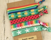 Summer Island Rainbow Popsicle Inspired Knot Hair Ties Fold Over Elastic Stretch Bracelet by Whimsical Elements