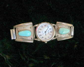 Vintage Native American Tino Watch with Sterling Silver & Turquoise Watch Band, signed EVP Mother of Pearl watch face, Estate Jewelry
