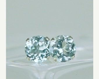 MEMORIAL DAY SALE Sky Blue Topaz Stud Earrings Sterling Silver 5mm Round 1.45ctw