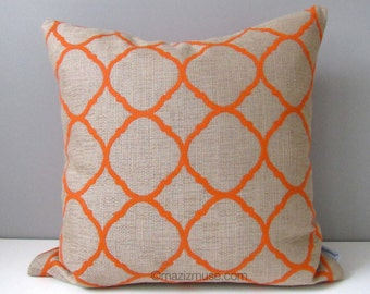 Orange OUTDOOR Pillow Cover, Modern Geometric Pillow Case, Decorative Throw Pillow Case, Beige Sunbrella Ogee Cushion Cover, Mazizmuse