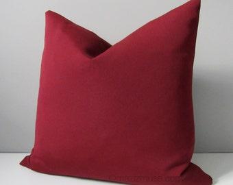Burgundy Outdoor Pillow Cover, Modern Sunbrella Pillow Cover, Decorative Pillow Cover, Masculine Throw Pillow Cover, Wine Cushion Cover