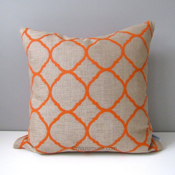 Modern Pillow Covers Etsy : Items similar to Orange OUTDOOR Pillow Cover, Modern Geometric Pillow Case, Decorative Throw ...