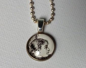 Unique pendant - Authentic 1890's ephemera from Harper's magazine