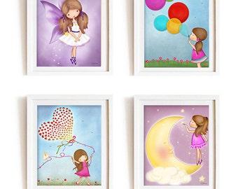 Art for girls bedroom, children wall decor, kids art, nursery decor, baby nursery art, purple girls room,childrens room posters,playroom art