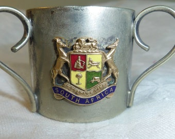 """Miniature 3 Handle Loving Cup with South Africa Coat of Arms 1.5"""" (3.5 cm) Silver plate"""
