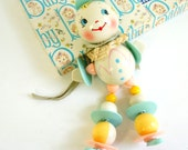 Vintage 1950s Baby Toy / Rare Waggie Wheels Hand Painted Celluloid Baby Rattle / New Baby Pastel Nursery Decor Display Set Prop Collectible