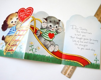 Vintage 1950s Valentines Card for Daddy Far Away / Unused, Trifold, Anthropomorphic Dog and Cat on Slide