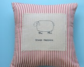 Sheep happens, funny pillow,  embroidered pillow