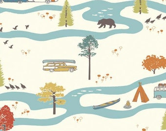 Birch Organic Cotton Fabric Feather River Camp Ground Camping Bears Canoe VW Van