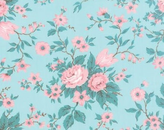 Kindred Spirits Bunny Hill MODA Fabric Flowers Antique Floral Bouquet Pink on Aqua Blue 2890 13