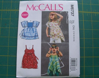 McCall's 6737 Girls Tops Sizes 7-14 uncut Sewing Pattern