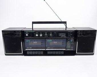 Vintage 80's CROWN p-815 boombox GHETTO BLASTER cassette deck radio