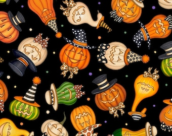 Creepy Hollow Jack O Lanterns 24483 J by Dan Morris for Quilting Treasures Halloween Fabric