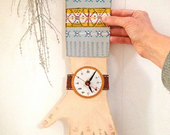 OOAK -- Ralph -- Hand painted wooden clock with fair isle sweater