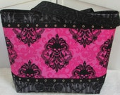 Hot Pink Damask Skulls large Tote Bag , Gothic Skull Shoulder Bag, Alternative Fashion Market Tote , Rocker Chic Purse Ready to Ship