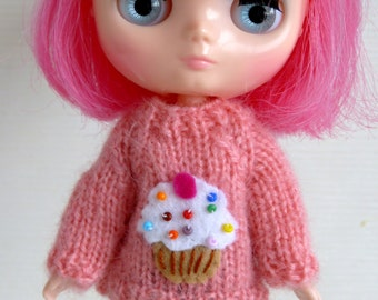 Pink cupcake sweater for Middie Blythe