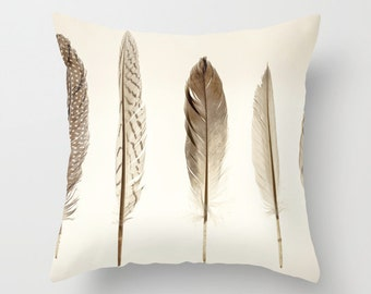 Feathers Print Throw Pillow Cover - Gift for women // Neutral Home Decor // Scandinavian Design // Decorative Pillow - Feather Collection