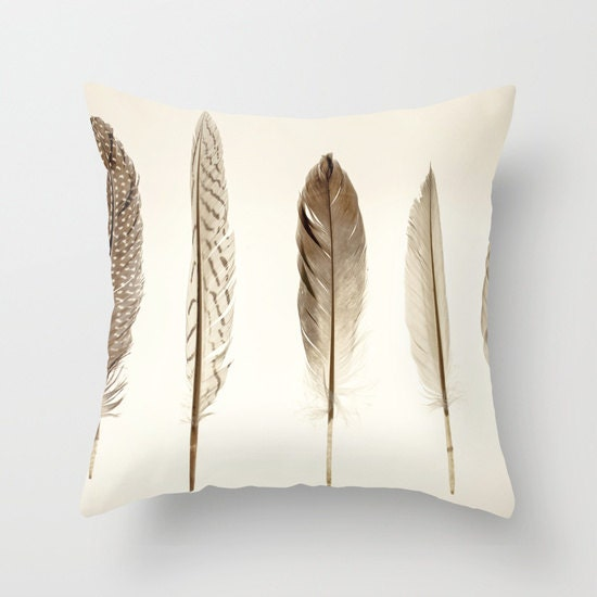 feathers print throw pillow cover gift for women neutral