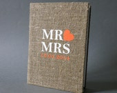 Personalized linen photo album, Rustic wedding photo album, Burlap photo Album , Family photo album