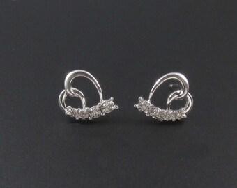 10K White Gold Heart Earrings, Diamond Heart Earrings, Diamond Earrings, Small Earrings, Romantic Earrings, Genuine Diamond Earrings