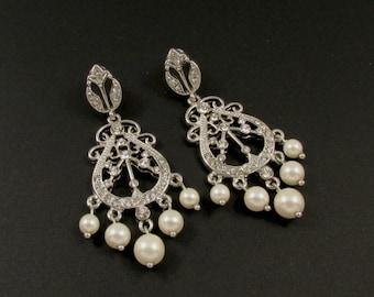 Faux Pearl and Rhinestone Earrings, Rhinestone and Faux Pearl Earrings, Pearl Drop Earrings, Rhinestone Chandelier Earrings, Bridal Earrings