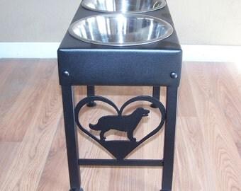 Golden Retriever raised dog bowls powder coated steel elevated metal art feeder stand