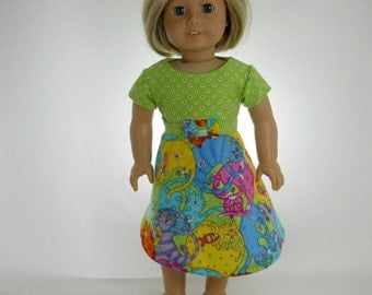 18 inch doll clothes made to fit dolls such as American Girl®, Crazy Cats Dress, 01-0800