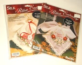 Vintage Bucilla Silk Ribbon Embroidery Christmas handkerchief Angels • new in package • lot of 2 count