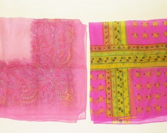 Vintage Sheer Colorful Chiffon Scarf Lot • 2 count