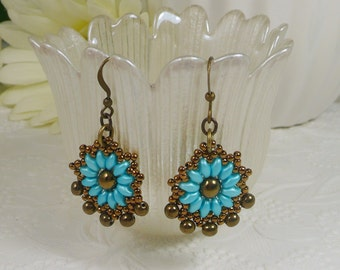 Woven Earrings Turquoise Super Duo with Bronze Gifts for Women Southwest Inspired Earrings