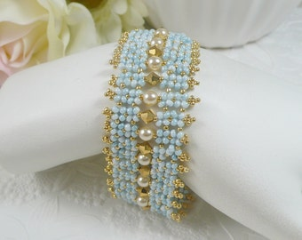 Woven Bracelet with Robins Egg Blue Seed Beads Gold Crystals and Pearl Accents